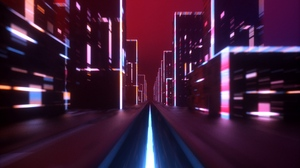 Preview wallpaper art, glow, movement, speed, street
