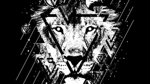 Preview wallpaper art, bw, lines, lion, spots, triangles