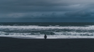 Preview wallpaper cloudy, loneliness, lonely, sea, silhouette, storm, waves