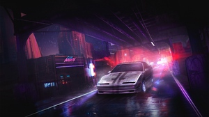 Preview wallpaper art, car, city, night, street