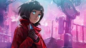 Preview wallpaper cold, girl, intersection, phone, pointer, snow, street, winter