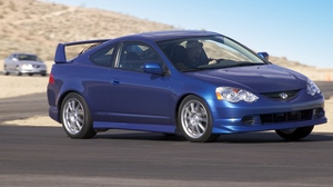 Preview wallpaper 2004, acura, blue, cars, motion, mountain, road, rsx, side view, style