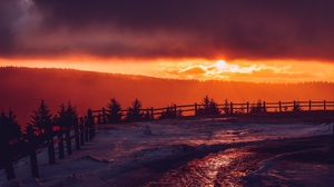 Preview wallpaper fence, mountains, snow, sunset, winter