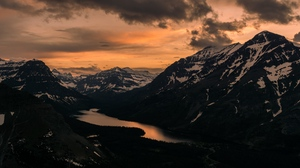 Preview wallpaper clouds, lake, mountains, sunset, top
