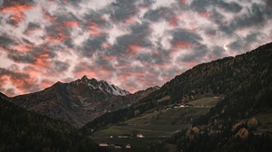 Preview wallpaper clouds, forest, mountain, sunset, trees, village