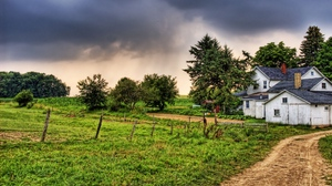 Preview wallpaper buildings, grass, hdr, nature, trees, village