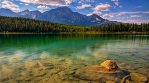 Preview wallpaper bottom, coast, lake, mountains, stones, transparent, trees, water, wood