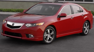 Preview wallpaper 2011, acura, asphalt, buildings, cars, front view, grass, red, style, tsx