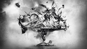 Preview wallpaper abstraction, art, bw, drawing, explosion, fantasy