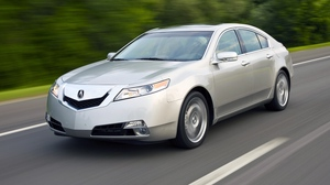 Preview wallpaper 2008, acura, cars, highway, side view, silver metallic, speed, style, tl, trees