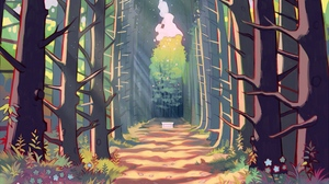 Preview wallpaper alley, art, forest, path, trees