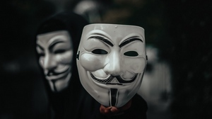 Preview wallpaper anonymous, hand, hood, mask