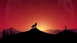 Preview wallpaper art, full moon, howl, loneliness, wolf
