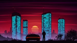 Preview wallpaper art, buildings, car, city, silhouette, sunset, vector