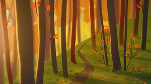 Preview wallpaper art, autumn, forest, nature, path