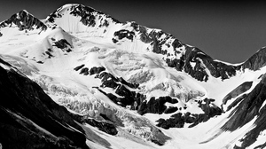 Preview wallpaper black and white, mountain, peaks, snow