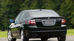 Preview wallpaper 2007, acura, asphalt, black, cars, grass, rear view, style, tl, trees