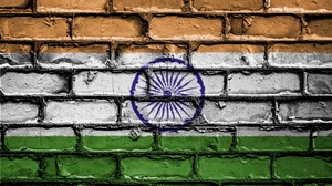 Preview wallpaper brick, flag, india, paint, texture, wall