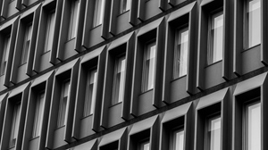 Preview wallpaper architecture, building, bw, facade, windows