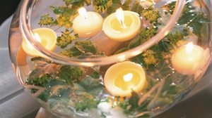Preview wallpaper candles, leaves, romance, softness, vase