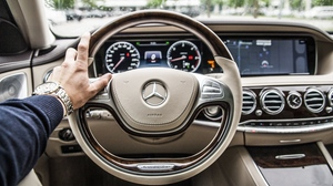 Preview wallpaper car, interior, mercedes, steering wheel