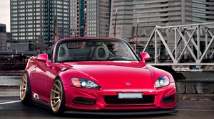Preview wallpaper city, front view, honda, red, roadster, s2000