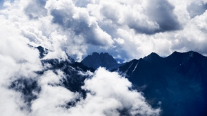Preview wallpaper clouds, high, mountains, sky