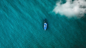 Preview wallpaper boat, clouds, sea, top view