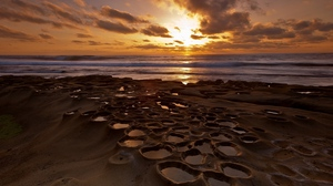 Preview wallpaper coast, decline, holes, hollows, sea, stony, water