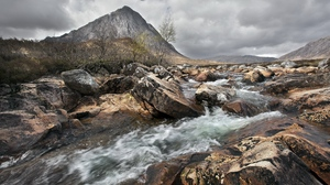 Preview wallpaper aspiration, current, dullness, mountain, river