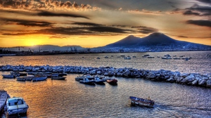 Preview wallpaper boats, evening, mountains, sea, sky, stones, vessels