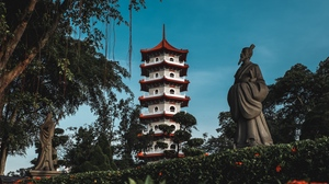 Preview wallpaper building, bushes, flowers, pagoda, statue, trees