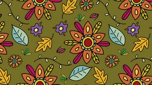 Preview wallpaper art, branches, flowers, leaves, pattern