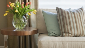Preview wallpaper design, flowers, interior design, pillows, room, sofa, strips, tulips, vase
