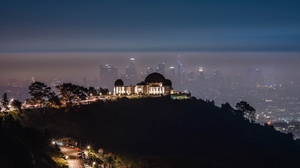 Preview wallpaper aerial view, buildings, city, fog, night