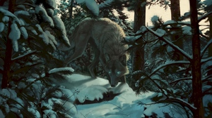 Preview wallpaper art, forest, predator, snow, trees, wolf