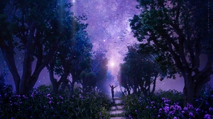 Preview wallpaper art, fabulous, forest, purple, starry sky