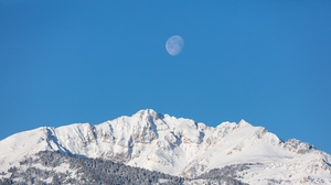 Preview wallpaper forest, moon, mountains, snow, snowy