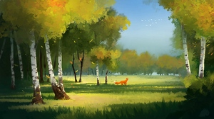 Preview wallpaper art, forest, fox, glade, trees