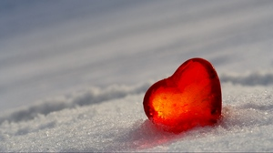 Preview wallpaper glass, heart, ice, red, snow, white