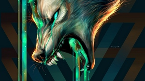 Preview wallpaper aggression, art, grin, illusion, wolf