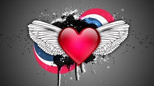 Preview wallpaper colorful, heart, spots, wings