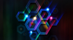 Preview wallpaper black background, circles, hexagons, lines