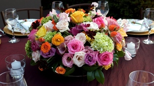 Preview wallpaper bouquets, candles, composition, flowers, hydrangea, lisianthus russell, roses, table, tableware