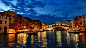 Preview wallpaper boat, canal, clouds, gondola, houses, italy, lights, night, venice