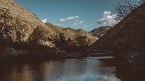 Preview wallpaper branches, lake, landscape, mountains, stones