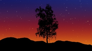 Preview wallpaper art, lonely, starry sky, tree, vector