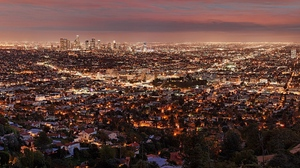 Preview wallpaper city, los angeles, night, view from above