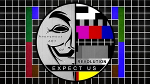Preview wallpaper anonymus, mask, scheme, tv