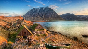 Preview wallpaper boat, coast, constructions, lake, lodges, mountains, purity